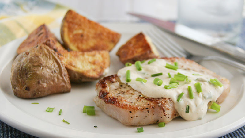 Pork Chops with Creamy Chive Sauce