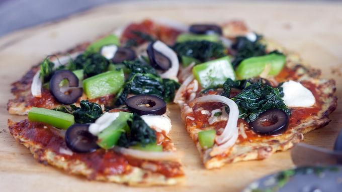 Vegetable Pizza on Cauliflower Crust