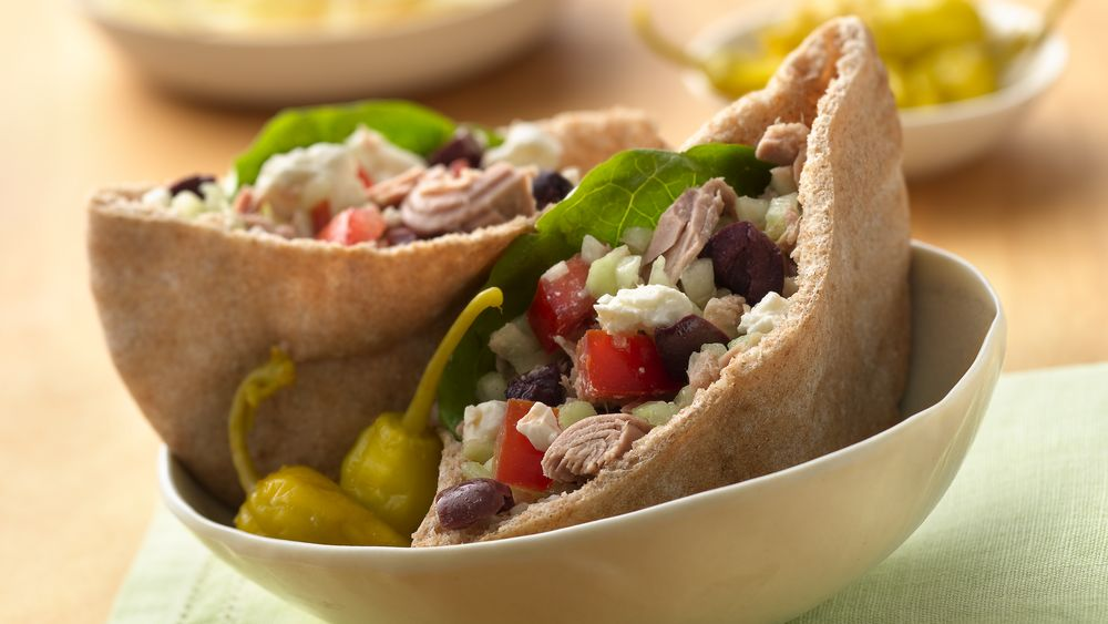 Greek Tuna Salad Pita Sandwiches with Feta Cheese