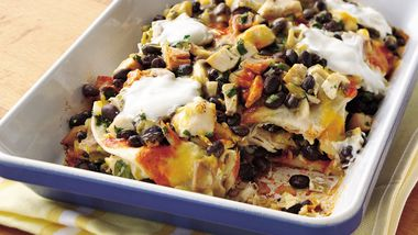 Layered Chicken-Black Bean Enchiladas