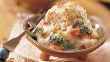 Veggie Casserole with Dill Drop Biscuits