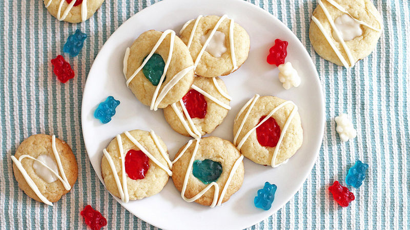 Patriotic Gummy Bear Thumbprint Cookies
