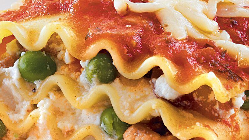 Pea and Mushroom Lasagna Ribbons