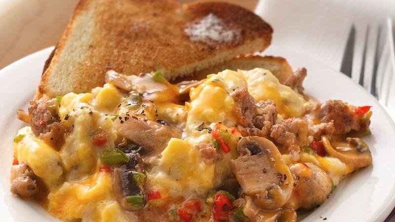 Slow-Cooker Make-Ahead Sausage and Mushroom Scrambled Eggs