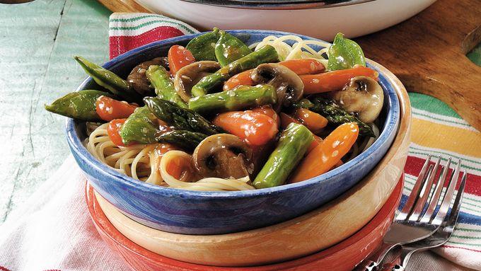 Sesame Vegetable Stir-Fry Over Pasta