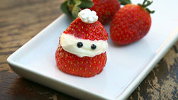 Santa Strawberries with Whipped Cream