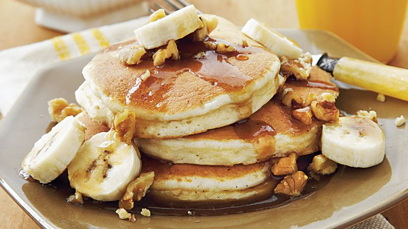 Oat Pancakes with Banana-Nut Syrup