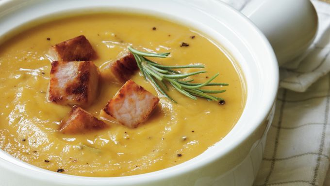 Sweet Potato-Peanut Soup with Ham Croutons