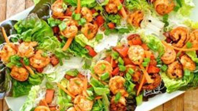 Spicy Asian Shrimp Lettuce Cups