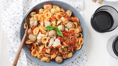 Mini Mozzarella Stuffed Turkey Zucchini Meatball Orrechiette