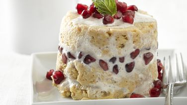 Plantain Cake with Cognac Pecan Cream and Pomegranate
