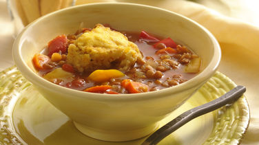 Slow-Cooker Lentil Stew with Cornbread Dumplings