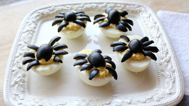 Deviled Eggs with Olive Spiders