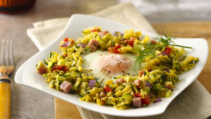 Skillet Eggs with Summer Squash Hash
