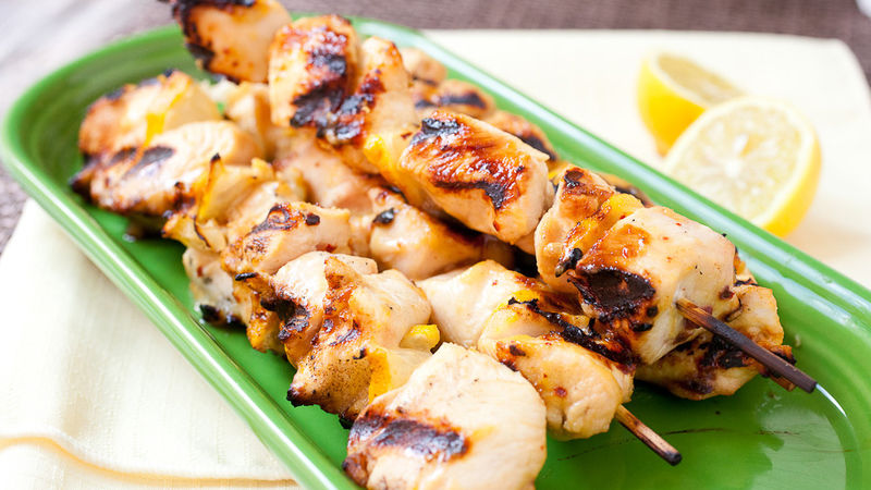 Grilled Dijon Lemon Chicken Kabobs