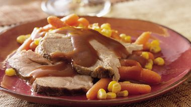 Slow-Cooker Glazed Pork Roast with Carrots and Corn