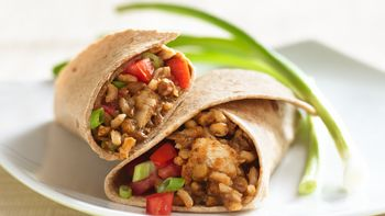 Easy Chicken, Rice and Lentil Wraps