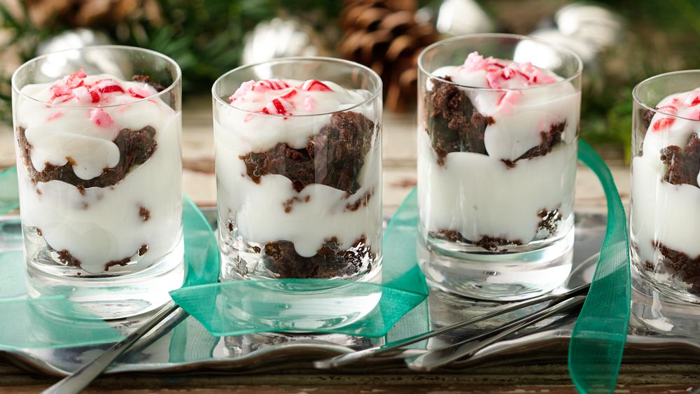 Peppermint Bark Brownie Shots