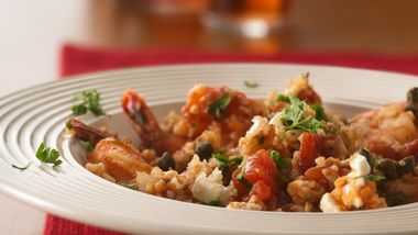 Mediterranean Shrimp with Bulgur