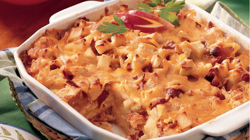 Apple, Bacon and Cheddar Bread Pudding