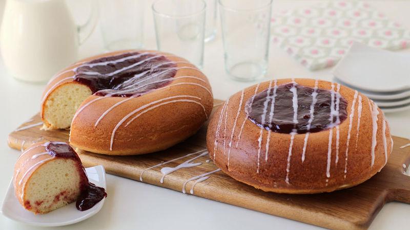 Raspberry Thumbprint Cookie Cake