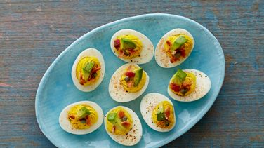 Green Deviled Eggs with Bacon and Avocado