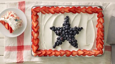 Angel Food Pudding Cake with Berries