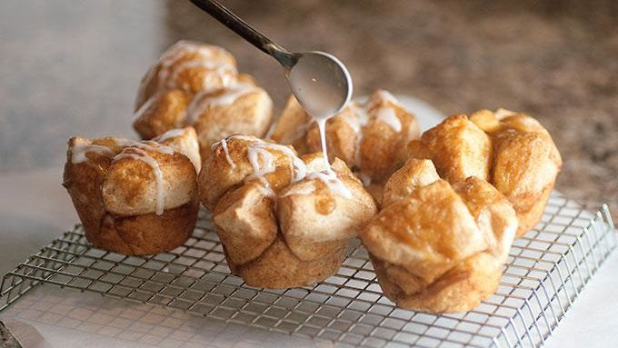 Caramel Monkey Bread Muffins with Icing