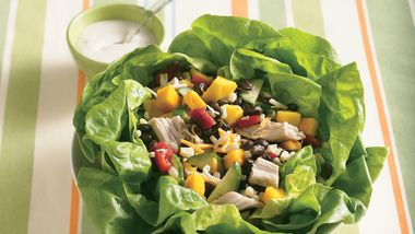 Chicken and Mango Salad in Lettuce Bowl