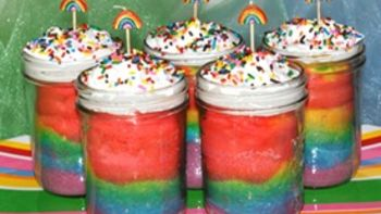 Rainbow Cake in a Jar