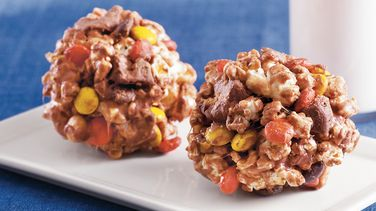 Chewy Peanut Butter Popcorn Balls