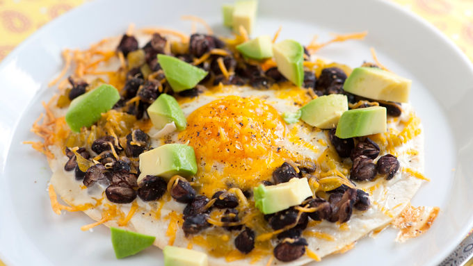Egg and Black Bean Tostadas