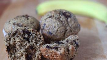 Chocolate Chia Banana Nut Muffins