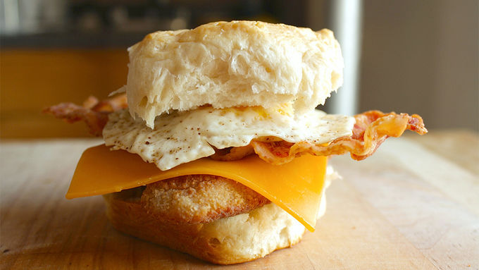 Fried Chicken and Egg Biscuit Sandwiches
