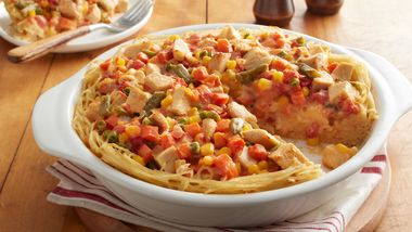 Cheesy Chicken Spaghetti Pie