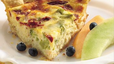 Crab, Broccoli and Roasted Red Pepper Quiche