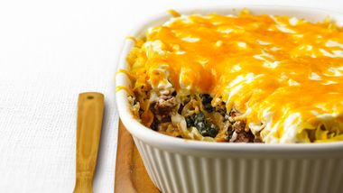 Skinny Beef and Noodle Layered Casserole