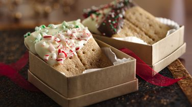 Cuadritos de galleta tipo graham cubiertas con caramelo