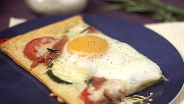 Cheesy Baked Egg Tart with Tarragon, Tomato and Zucchini