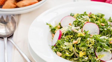 Brussels Sprouts Salad with Kale and Radishes