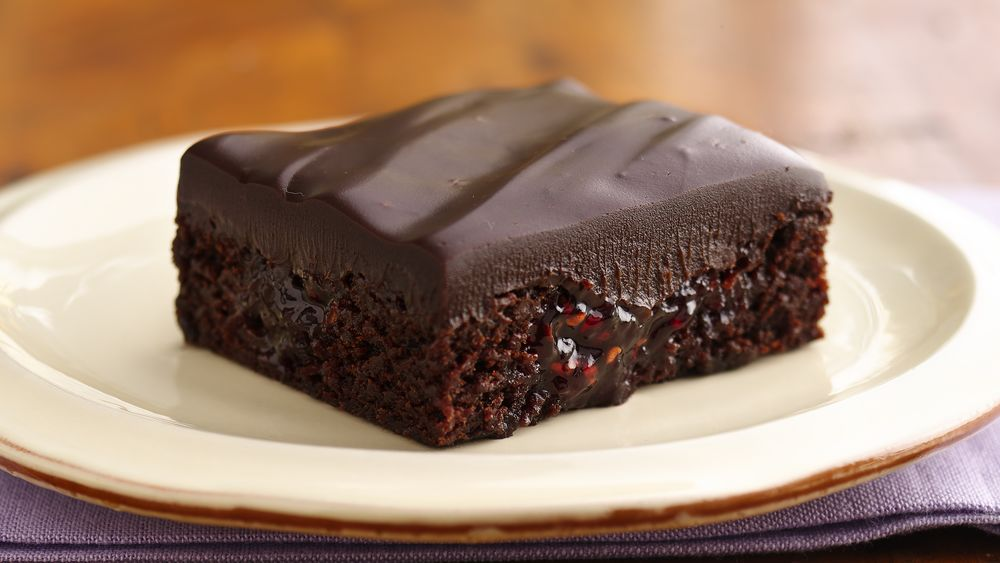 Raspberry-Chipotle Brownies with Chocolate Ganache
