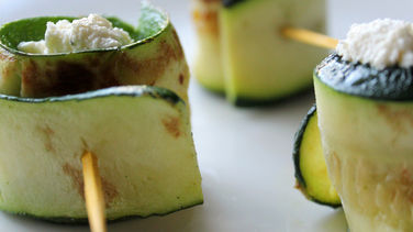 Grilled Zucchini Rolls Filled with Herb Cheese