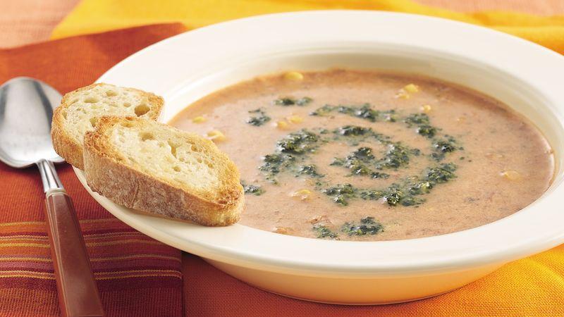 Roasted Tomato-Corn Chowder with Cilantro Pesto