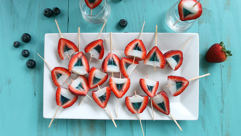 Red White and Blue Strawberry Jello Shots