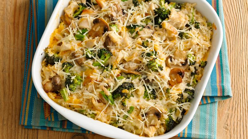 Cheesy Chicken, Broccoli and Rice Casserole recipe from Betty Crocker