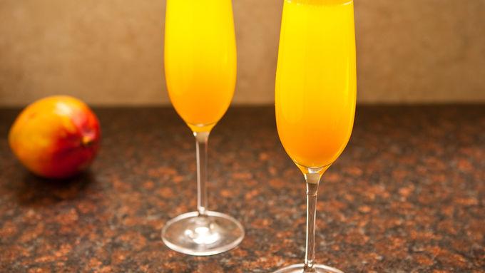Mango-Peach Champagne Cocktail