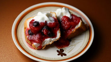 Poached Fruit Over Angel Food Cake