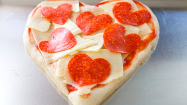 Heart-Shaped Pepperoni Pizza