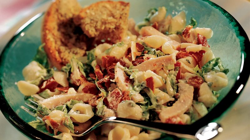 Turkey Club Pasta Salad with Lemon-Basil Dressing