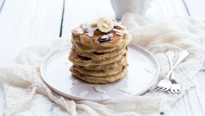Dark Chocolate Coconut Banana Bread Pancakes